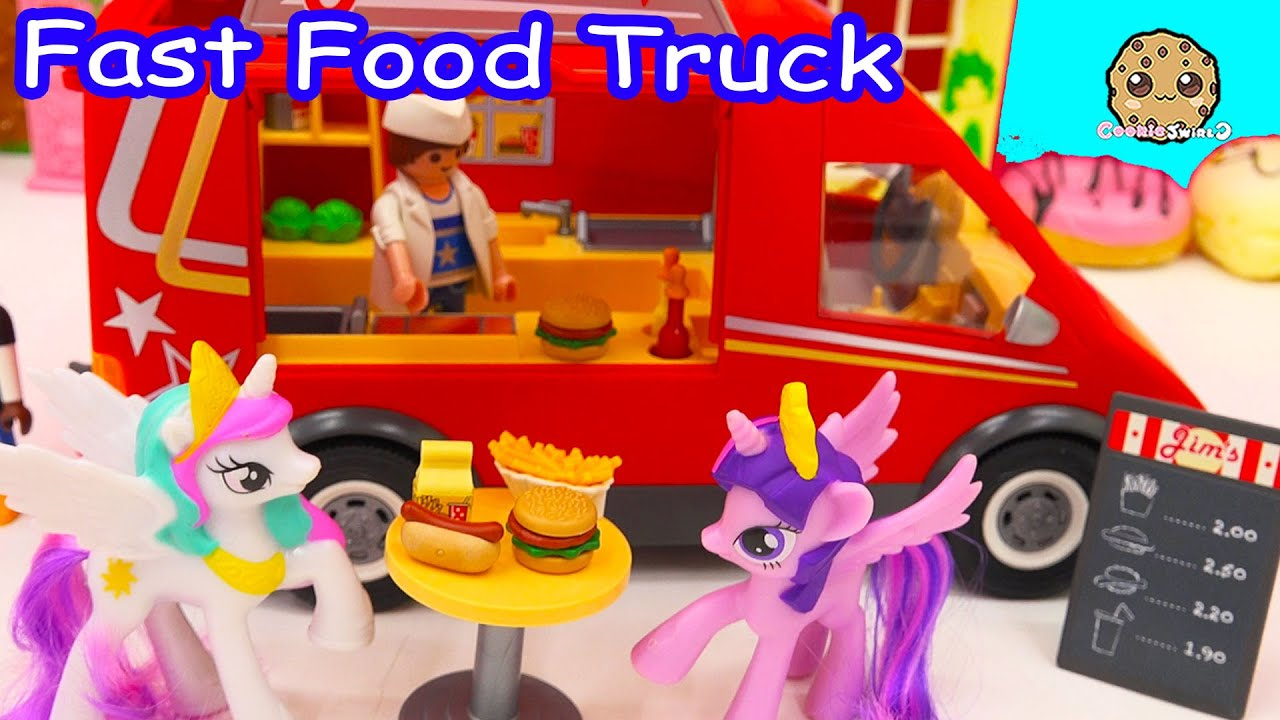 My Little Pony Toy Food : Playmobil fast food truck car with burgers fries hotdogs