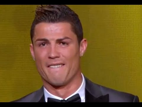 Cristiano Ronaldo crying after winning FIFA Ballon D'or 2014