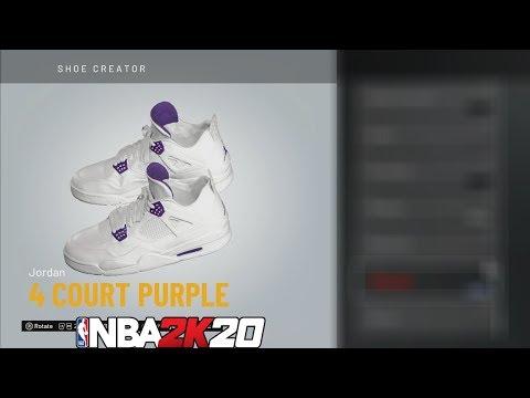 NBA 2K20 Shoe Creator Jordan 4 Court Purple 🔌🔥👟