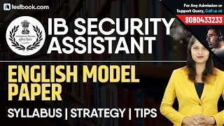 IB Security Assistant 2019 | English Model Paper | Best Strategy + Syllabus + Tips | Pratibha Ma'am