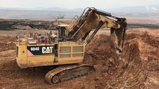 Cat 6040 Mining Excavator Loading Dumpers And Operator View