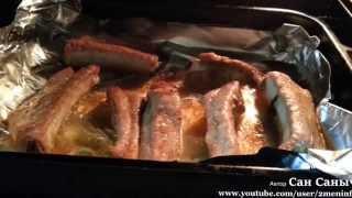 Запеченные свиные ребра с вареной картошкой на ужин