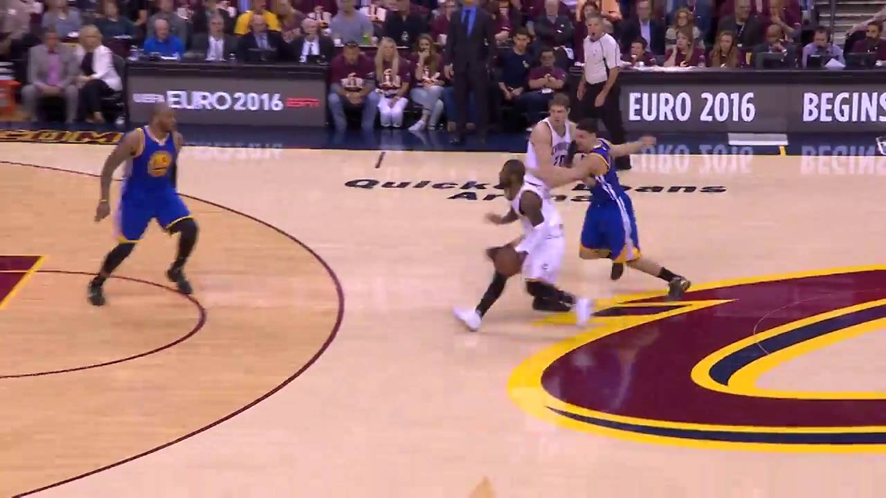 Kyrie Irving Crosses Steph Curry And Klay Thompson