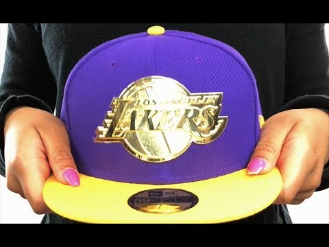 58563c6dab220c Lakers 'GOLDEN-BADGE' Purple-Gold Fitted Hat by New Era - YouTube