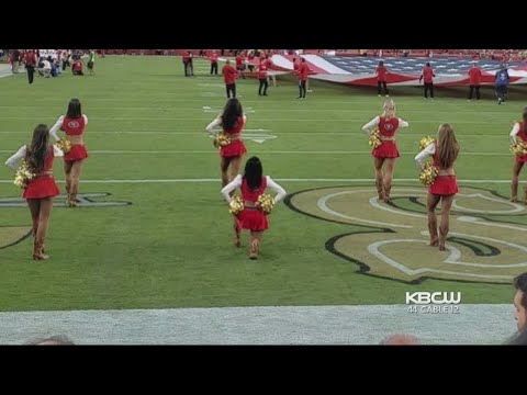 49ers Cheerleader Takes a Knee During Anthem at Battle of the Bay
