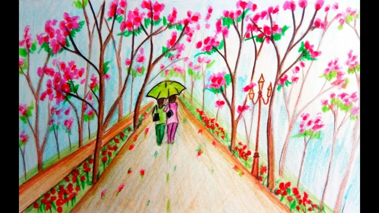 How to draw scenery of spring season easy drawing youtube for Easy spring pictures to draw