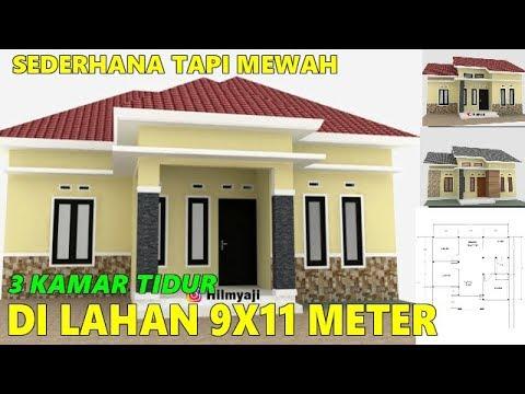 Full Denah Desain Rumah Sederhana Minimalis Ukuran 9x7 5 Meter 3 Kamar Tidur 1 Lantai Murah Youtube