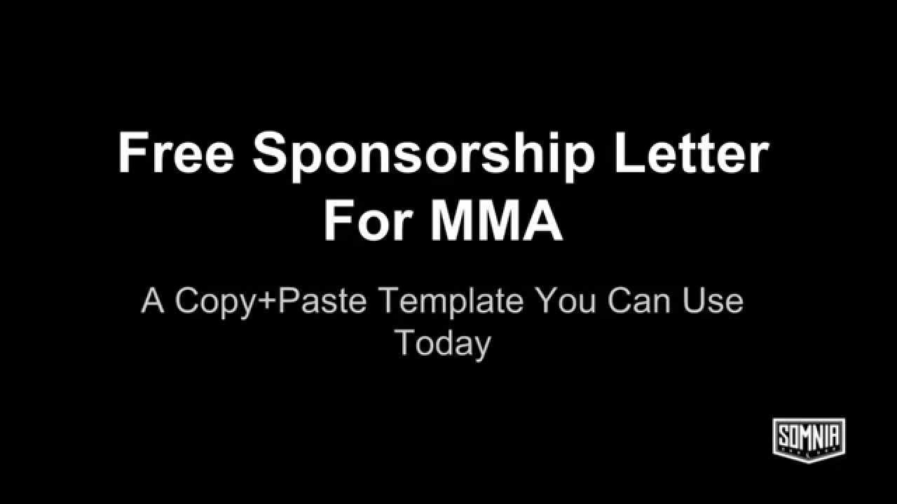 Sponsorship Letter For MMA YouTube