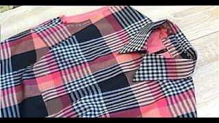 Обработка рубашечного воротника в платье