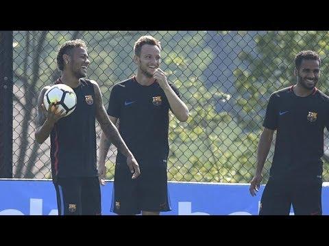 Primer entrenamiento del Barça en New Jersey