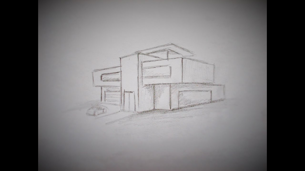 How to draw a modern house youtube Drawing modern houses