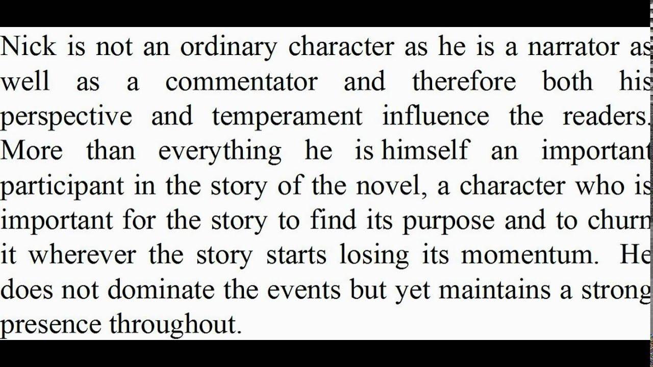 character analysis nick carraway