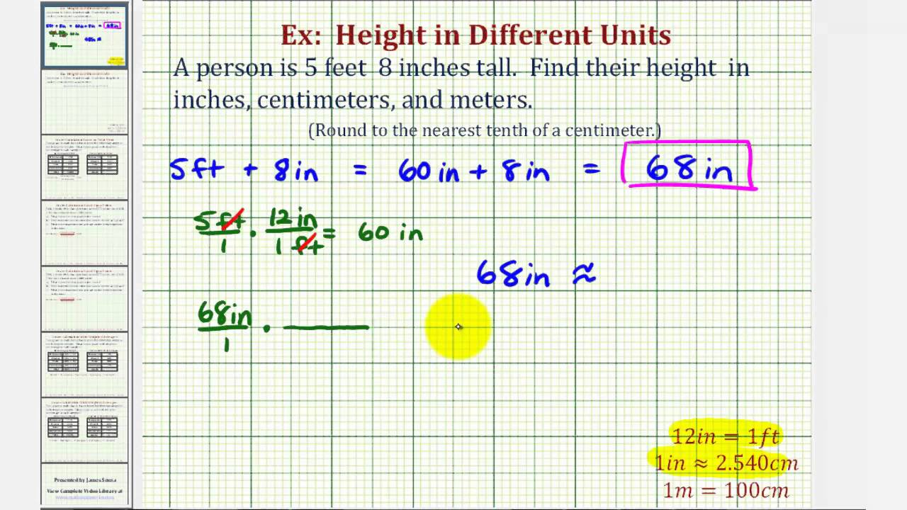 Lovely Ex: Convert Height In Feet And Inches To Inches, Centimeters, And Meters    YouTube