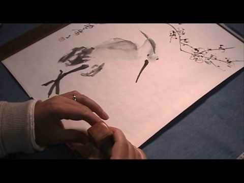 Dry-mounting and After-touches of a Chinese Painting with Silicone Paper