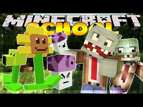 Minecraft School : PLANTS VS ZOMBIES ATTACK!