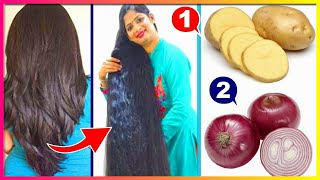 How To Grow Long and Thicken Hair Faster With Onion & Potato !! Double Hair Growth & Long Hair