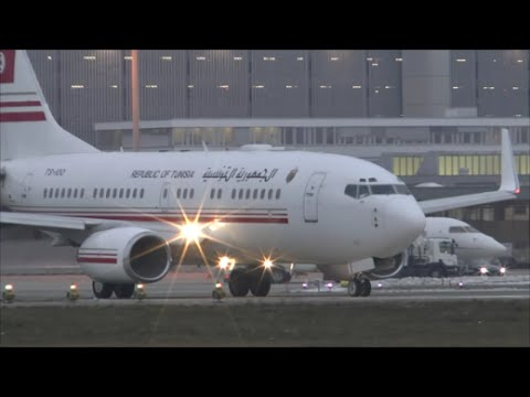 [HD] Republic of Tunisia Boeing 737 BBJ takeoff at Zurich Airport - 22/01/2016