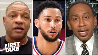 Stephen A. confronts Doc Rivers about his 'blasphemous' Ben Simmons quote | First Take