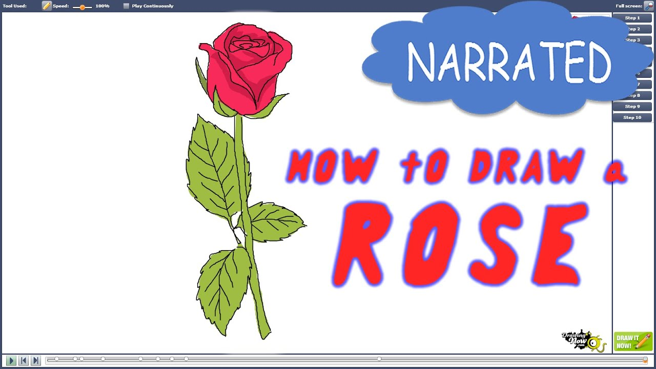 How To Draw A Rose Step By Step For Beginners (narrated)