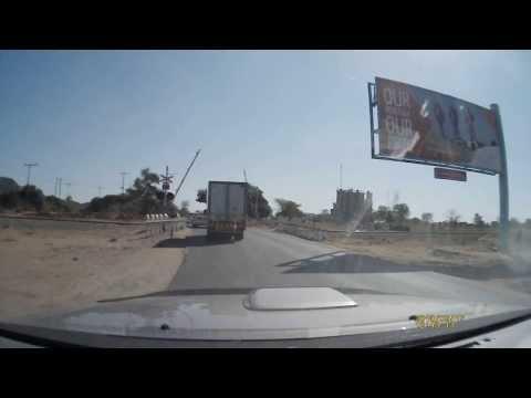 Diesel train crossing road in Gaborone, Botswana