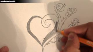 How to draw a heart with a rose