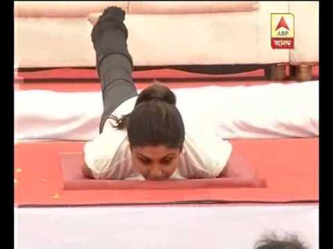 Bollywood actress shilpa shetty practices yoga in bangalore on International Yoga day