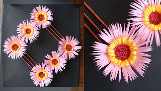 Paper Flower Wall Hanging- Easy Wall Decoration Ideas - Paper craft - DIY Wall Decor