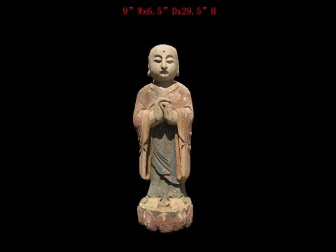 Chinese Antique Wood Hand Carving Standing Monk Statue WK2882