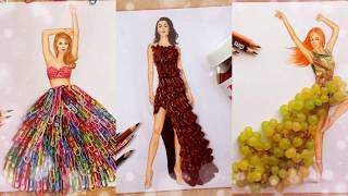 Part 2  Fashion Illustrator Creates Stunning Dresses From Everyday Objects - The best on YouTube