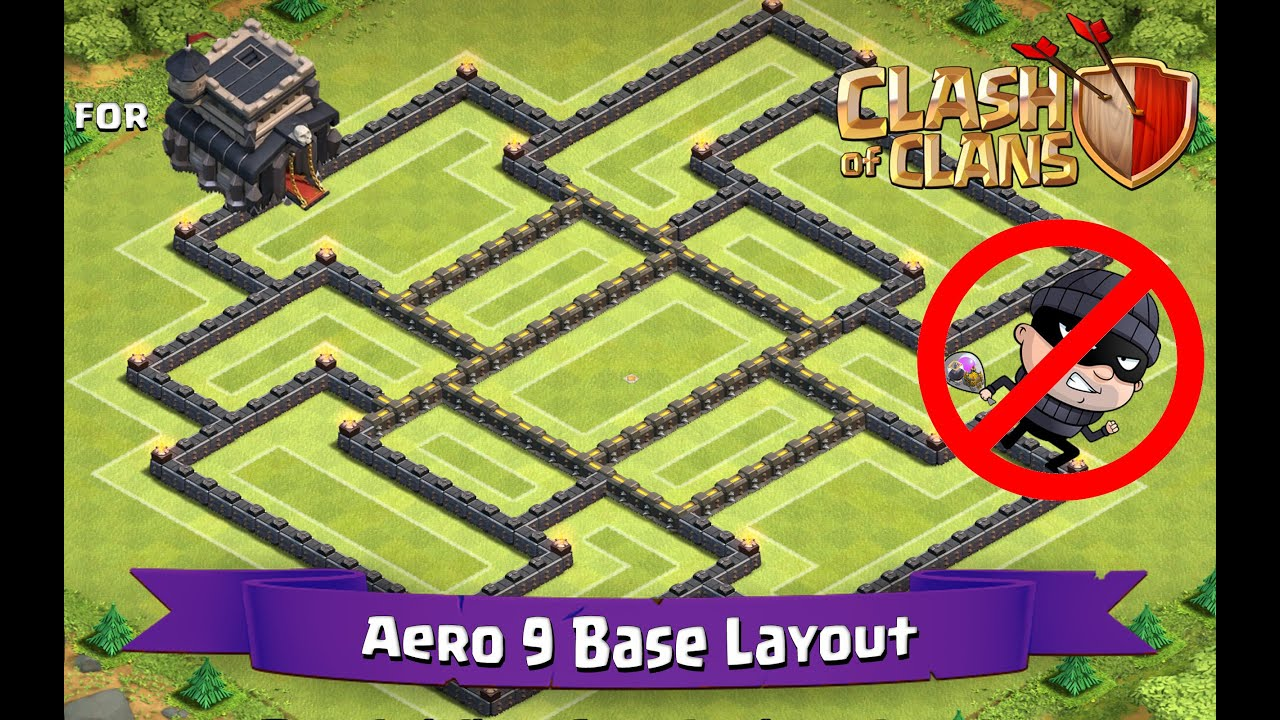 Clash of clans th9 best farming base layout aero 9 youtube