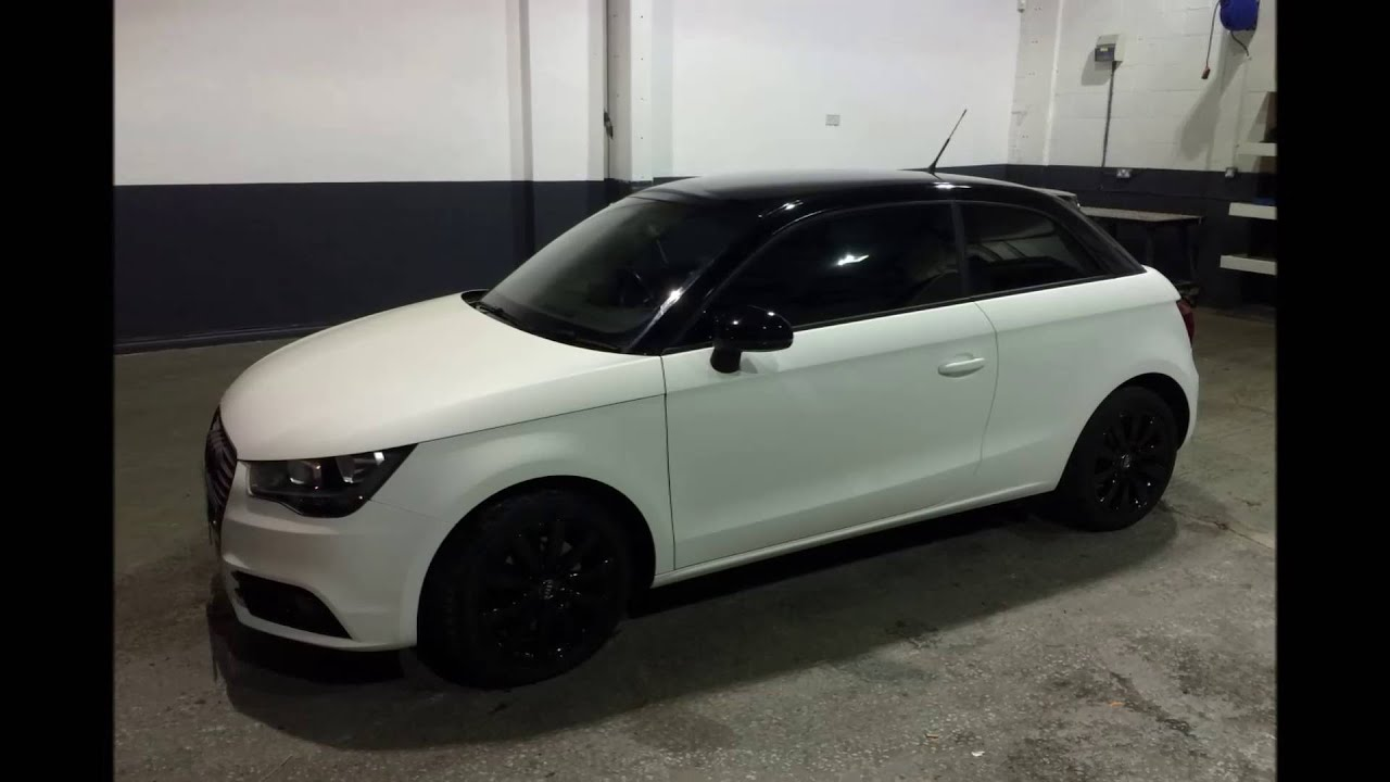 vinyl wrap matt white gloss black roof on audi a1 youtube. Black Bedroom Furniture Sets. Home Design Ideas