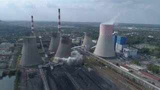 Wyburzenie chłodni kominowej w elektrowni Łagisza