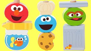 SESAME STREET Stacking Cups Nesting Dolls with Elmo, Cookie Monster, Gumballs