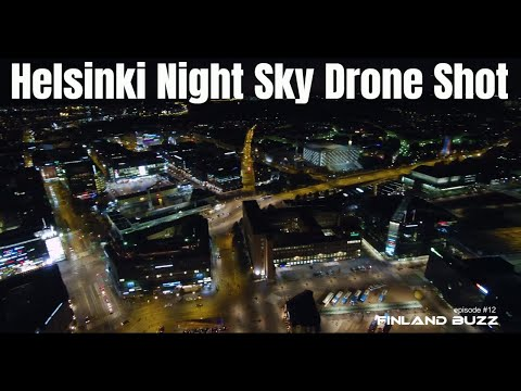 Helsinki City Night Sky Lights from Drone - Yuneec Typhoon H Pro Aerial Footage