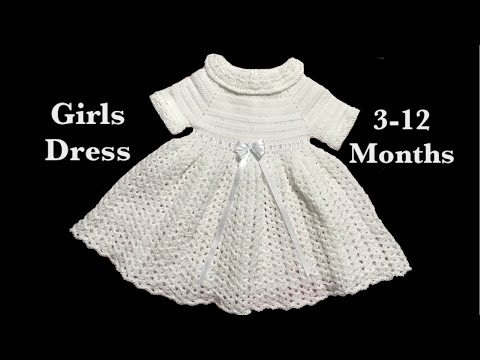 Pretty in white Crochet baby girl dress by Crochet for Baby for 3-12 months #121