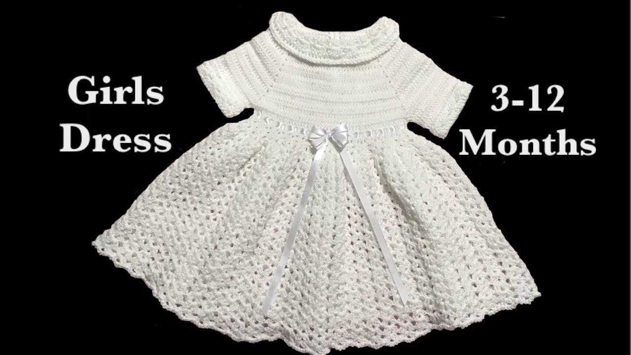 c544b1e461e3 Pretty in white Crochet baby girl dress by Crochet for Baby for 3-12 months  #121