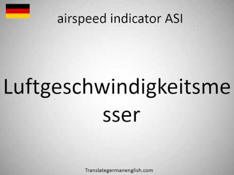 How to say airspeed indicator ASI in German?