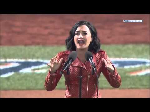 Demi Lovato performs the National Anthem - MLB World Series