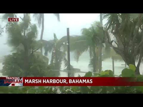 Powerful Hurricane Dorian impacting Bahamas with intense wind and rain