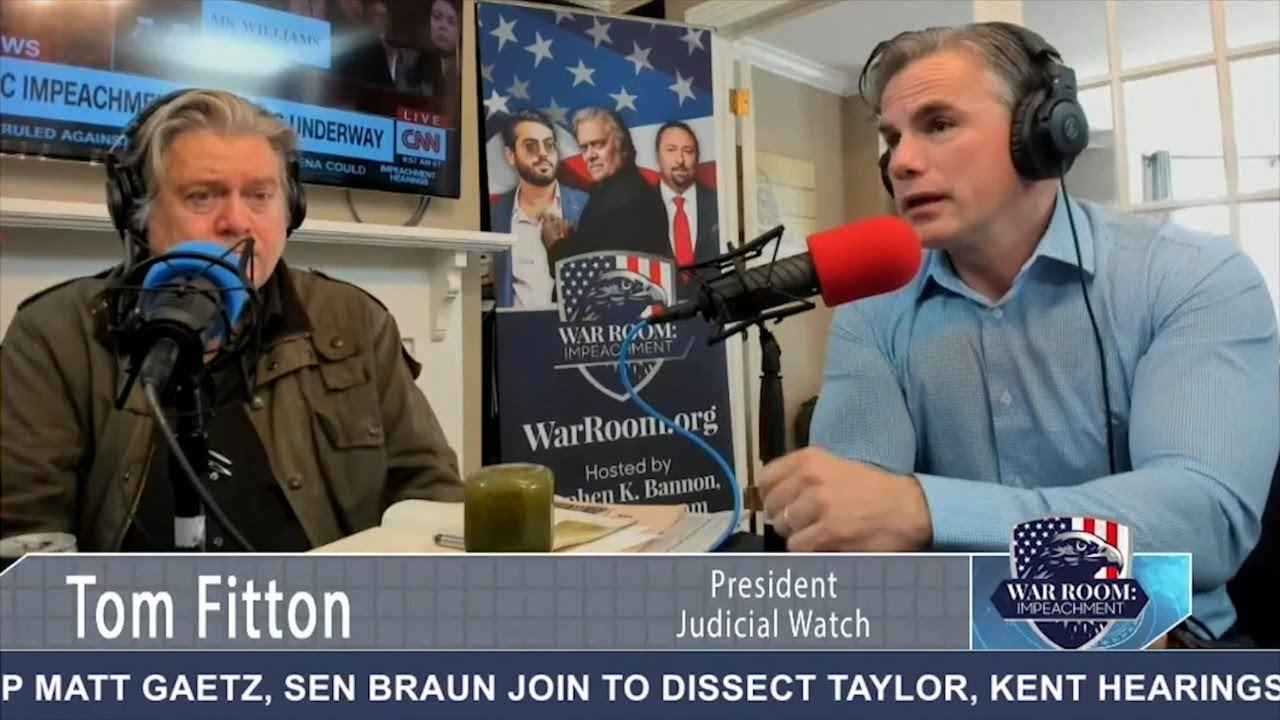 Tom Fitton on Steve Bannon's War Room: The Trump Impeachment Hearings