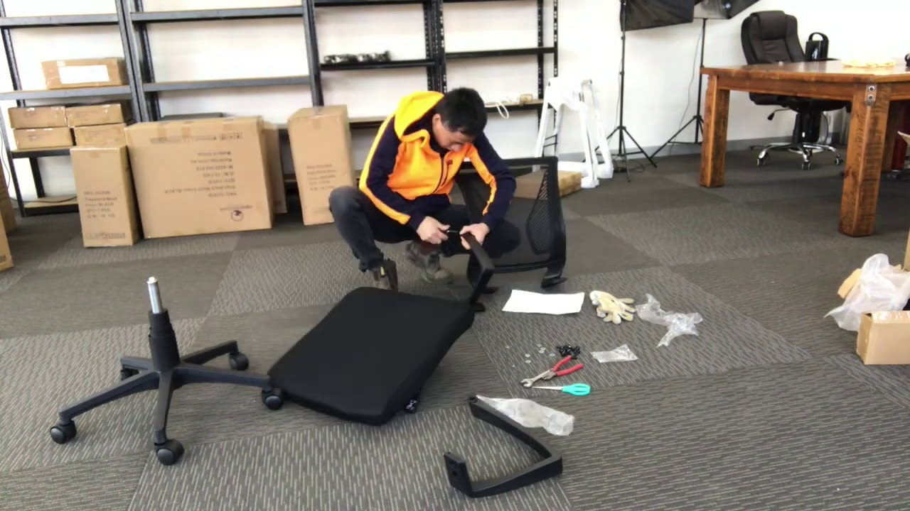 How to install middle back mesh office chair