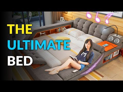 The Ultimate Bed With Built In Massage Chair, Speakers, and Desk