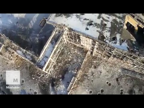 Drone footage shows devastation at Donetsk airport | Mashable