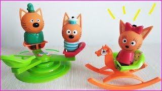 Три Кота на КАРУСЕЛИ и ГОРКА для Карамелька и Маши! Детская Площадка Кеши