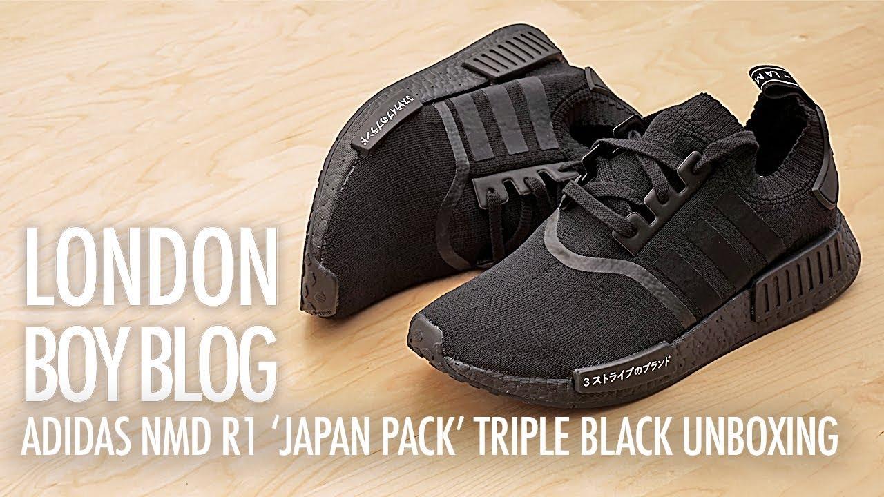 b75c7803d9251 Adidas NMD R1  Japan Pack  Triple Black Unboxing - YouTube