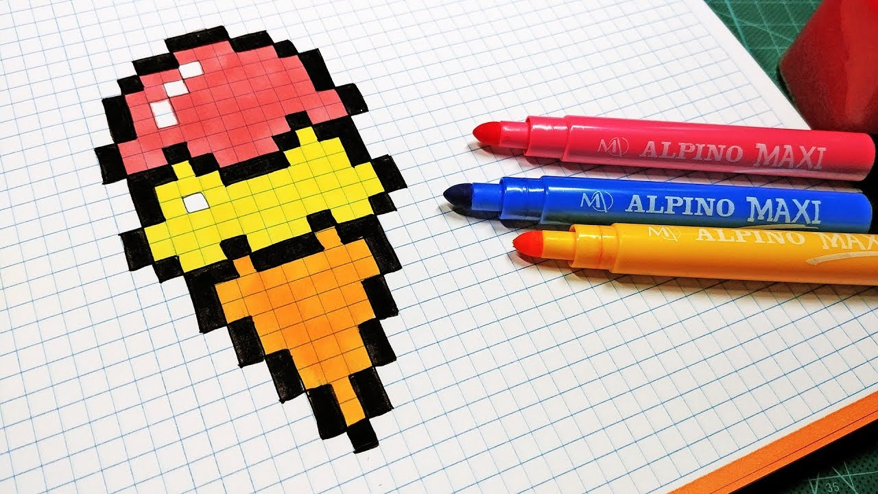 handmade pixel art how to draw an ice cream pixelart