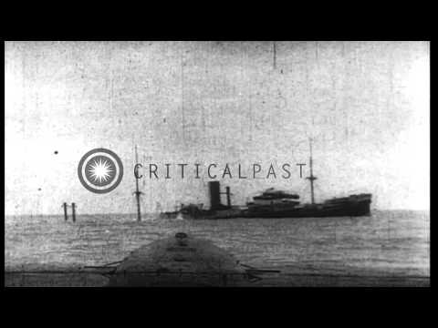 "German U-Boat sinks Italian armed freighter, ""Stromboli,"" by means of explosives ...HD Stock Footage"