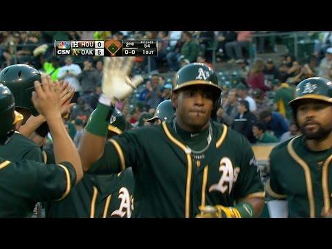 HOU@OAK: A's plate five runs in the 2nd vs. Astros