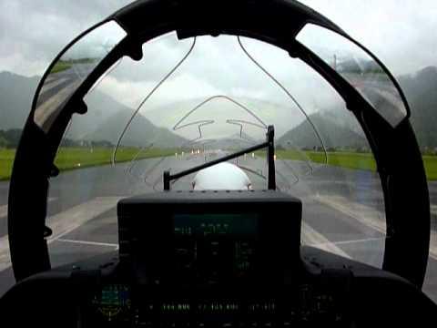 Pilatus PC-21 taking off in rainy weather - Cockpit view