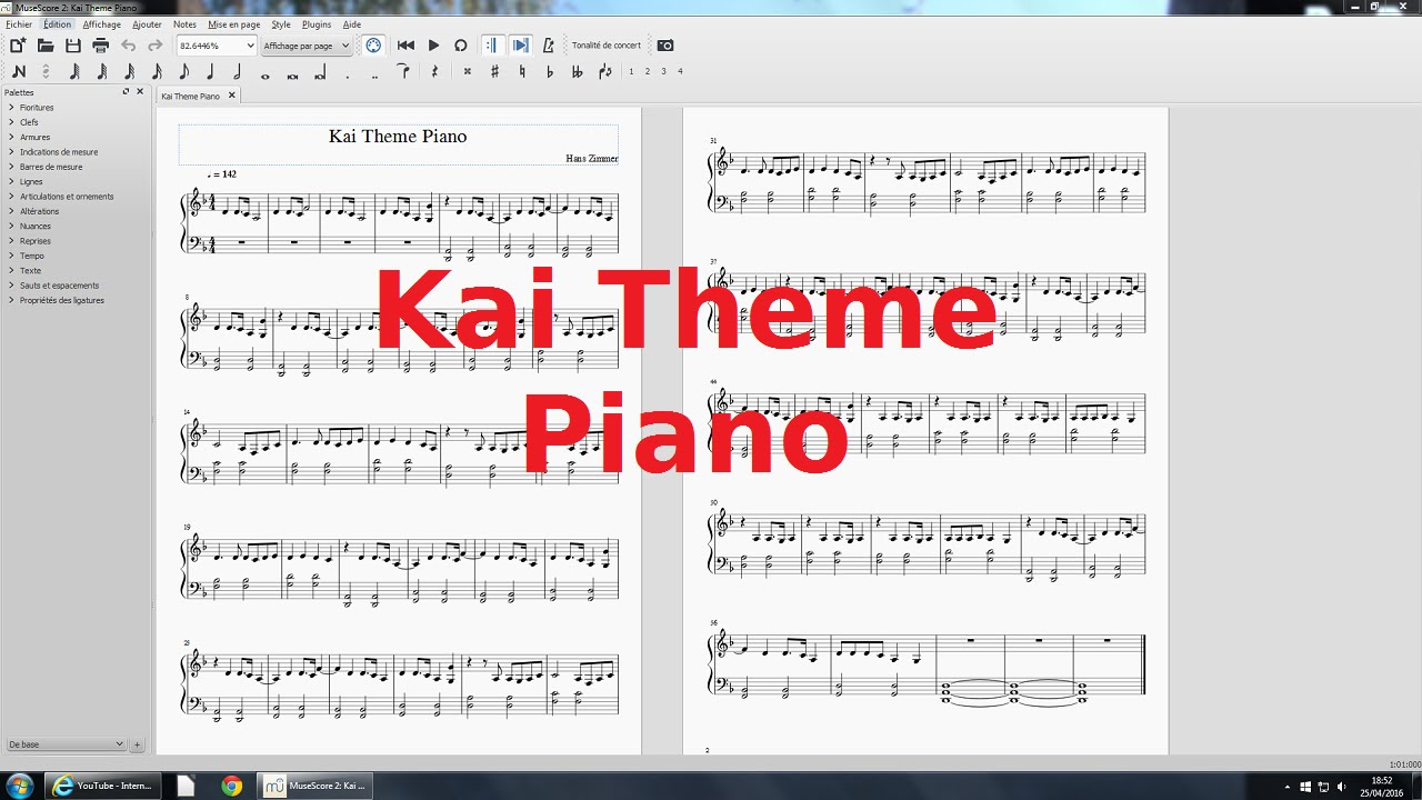 Kai Theme + Partition Piano ~ Kung Fu Panda ♪ Inédit - YouTube